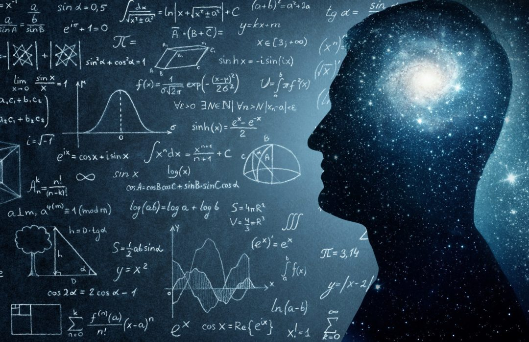 The universe within. Silhouette of a man inside the universe, physical and mathematical formulas.. The concept on scientific and philosophical topics.  Elements of this image furnished by NASA.